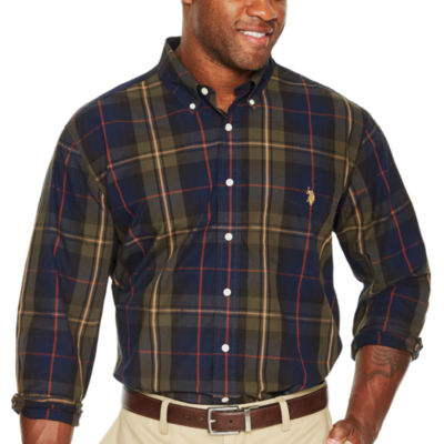 Us Polo Assn. Long Sleeve Plaid Button-Front Shirt-Big and Tall