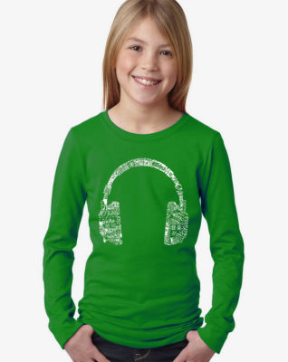 Los Angeles Pop Art Headphones - Languages Long Sleeve Girls Word Art T-Shirt