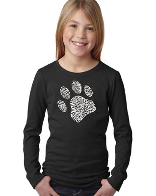 Los Angeles Pop Art Dog Paw Long Sleeve Graphic T-Shirt Girls
