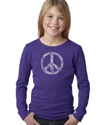 Los Angeles Pop Art The Word Peace In 20 LanguagesLong Sleeve Girls Word Art T-Shirt
