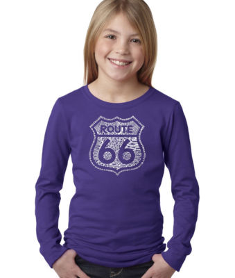 Los Angeles Pop Art Get Your Kicks On Route 66 Long Sleeve Graphic T-Shirt Girls