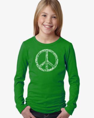 Los Angeles Pop Art The Word Peace In 77 LanguagesLong Sleeve Girls Word Art T-Shirt