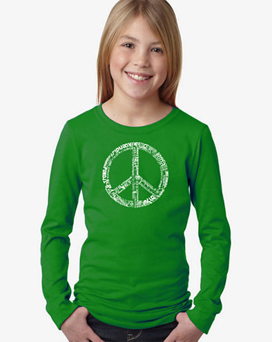 Los Angeles Pop Art The Word Peace In 77 Languages Long Sleeve Graphic T-Shirt Girls