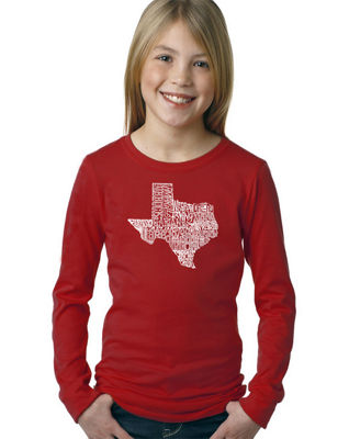 Los Angeles Pop Art The Great State Of Texas LongSleeve Girls Word Art T-Shirt