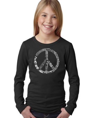 Los Angeles Pop Art Peace, Love, & Music Long Sleeve Graphic T-Shirt Girls