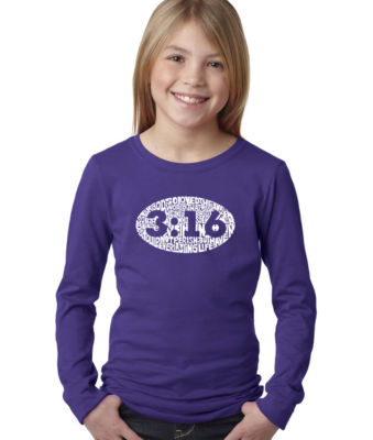 Los Angeles Pop Art John 3:16 Long Sleeve Girls Word Art T-Shirt