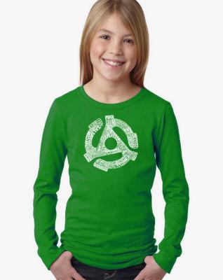 Los Angeles Pop Art Record Adapter Long Sleeve Girls Word Art T-Shirt