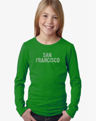 Los Angeles Pop Art San Francisco Neighborhoods Long Sleeve Graphic T-Shirt Girls