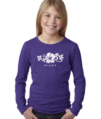 Los Angeles Pop Art Aloha Long Sleeve Graphic T-Shirt Girls