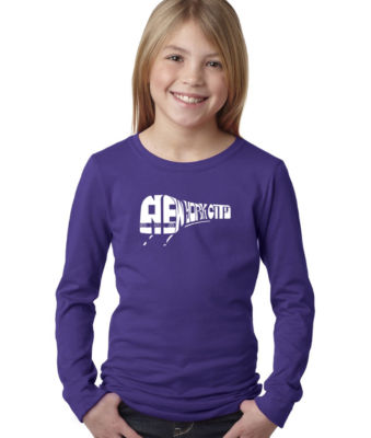 Los Angeles Pop Art Ny Subway Long Sleeve Graphic T-Shirt Girls