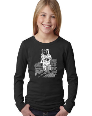Los Angeles Pop Art Astronaut Long Sleeve Girls Word Art T-Shirt