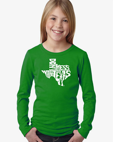 Los Angeles Pop Art Dont Mess With Texas Long Sleeve Graphic T-Shirt Girls