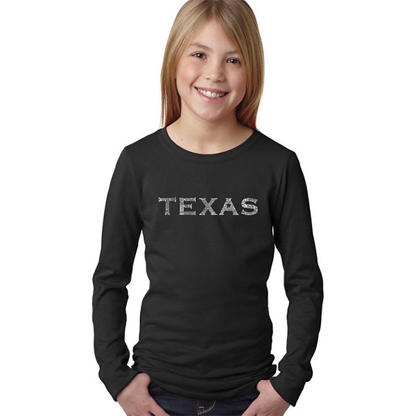 Los Angeles Pop Art The Great Cities Of Texas LongSleeve Girls Word Art T-Shirt