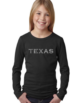 Los Angeles Pop Art The Great Cities Of Texas Long Sleeve Graphic T-Shirt Girls