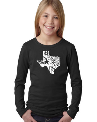 Los Angeles Pop Art Everything Is Bigger In Texas Long Sleeve Graphic T-Shirt Girls