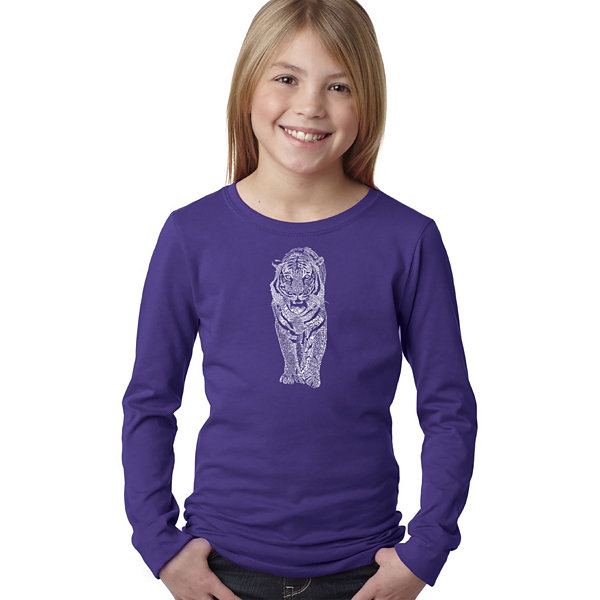 Los Angeles Pop Art Tiger Long Sleeve Girls Word Art T-Shirt