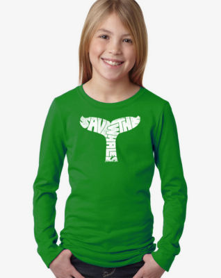 Los Angeles Pop Art Save The Whales Long Sleeve Girls Word Art T-Shirt