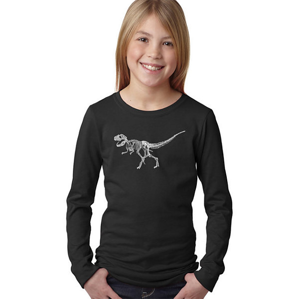 Los Angeles Pop Art Dinosaur T-Rex Skeleton Long Sleeve Girls Word Art T-Shirt
