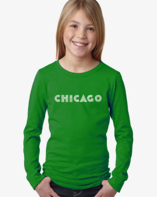 Los Angeles Pop Art Chicago Neighborhoods Long Sleeve Graphic T-Shirt Girls