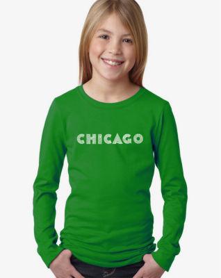 Los Angeles Pop Art Chicago Neighborhoods Long Sleeve Girls Word Art T-Shirt