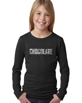 Los Angeles Pop Art Different Foods Made With Chocolate Long Sleeve Graphic T-Shirt Girls