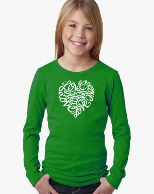 Los Angeles Pop Art Love Long Sleeve Girls Word Art T-Shirt