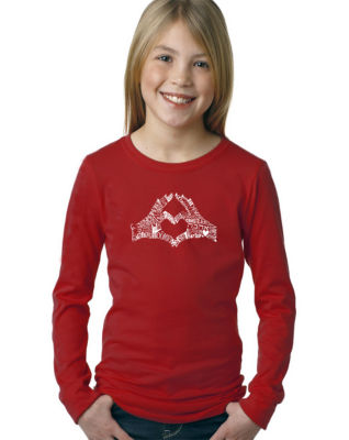Los Angeles Pop Art Finger Heart Long Sleeve Graphic T-Shirt Girls