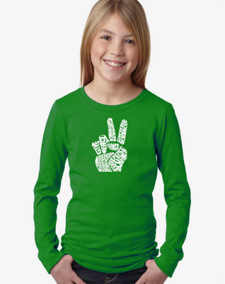 Los Angeles Pop Art Peace Fingers Long Sleeve Graphic T-Shirt Girls