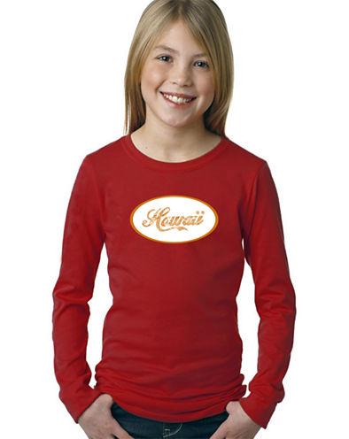 Los Angeles Pop Art Hawaiian Island Names & Imagery Long Sleeve Graphic T-Shirt Girls