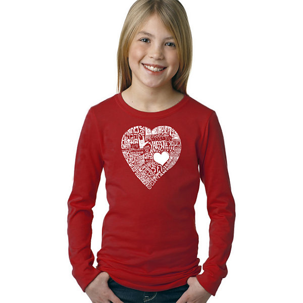 Los Angeles Pop Art Love In 44 Different LanguagesLong Sleeve Girls Word Art T-Shirt