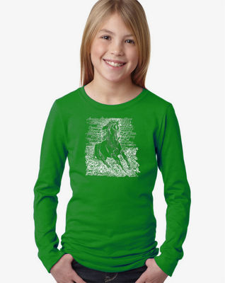 Los Angeles Pop Art Popular Horse Breeds Long Sleeve Graphic T-Shirt Girls