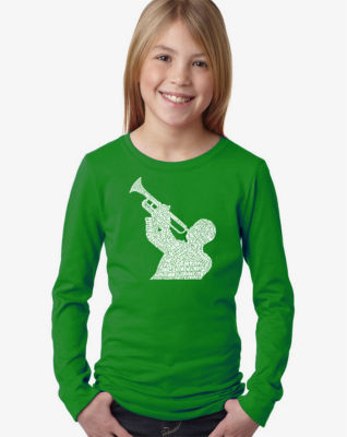Los Angeles Pop Art All Time Jazz Songs Long Sleeve Girls Word Art T-Shirt