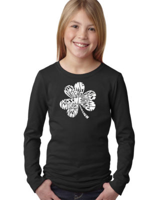 Los Angeles Pop Art Kiss Me I'M Irish Long Sleeve Graphic T-Shirt Girls