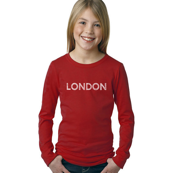 Los Angeles Pop Art London Neighborhoods Long Sleeve Girls Word Art T-Shirt