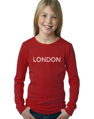 Los Angeles Pop Art London Neighborhoods Long Sleeve Graphic T-Shirt Girls
