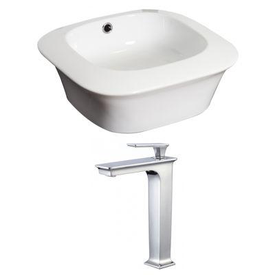 American Imaginations Above Counter Ceramic Square Vessel Sink