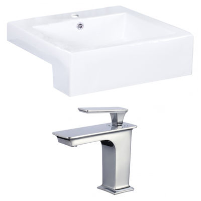 American Imaginations W Semi-Recessed Ceramic Rectangular Vessel Sink