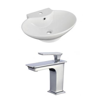 American Imaginations Wall Mount Ceramic Oval Vessel Sink