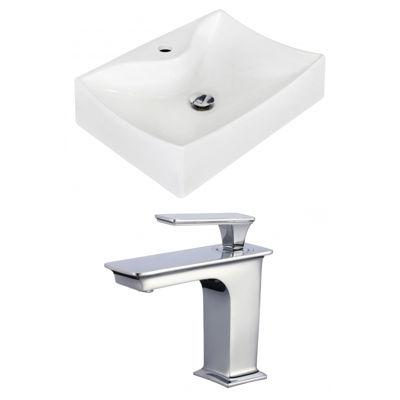 American Imaginations Above Counter Ceramic Rectangular Vessel Sink