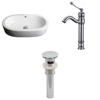 American Imaginations W Semi-Recessed Ceramic Oval Vessel Sink