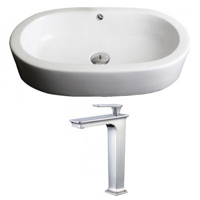 American Imaginations W Semi-Recessed Ceramic Oval Vessel Sink