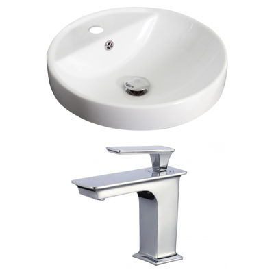 American Imaginations W Drop In Ceramic Round Vessel Sink