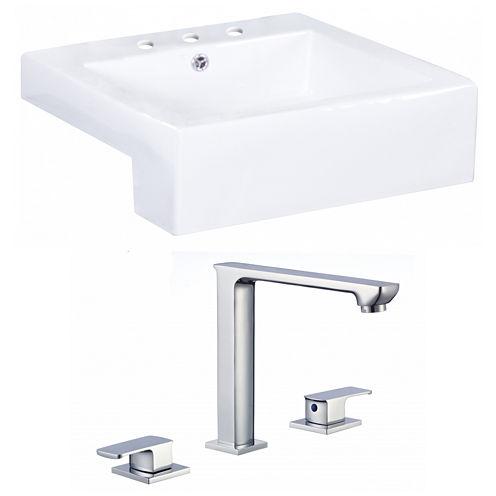 American Imaginations W Semi-Recessed Ceramic Square Vessel Sink