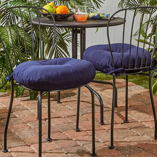 """Greendale Home Fashions 15"""" Round Outdoor Bistro Chair Cushion - Set of 2"""