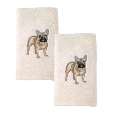 Avanti 2pk Dog French Bulldog 2-pc. Embroidered Hand Towel