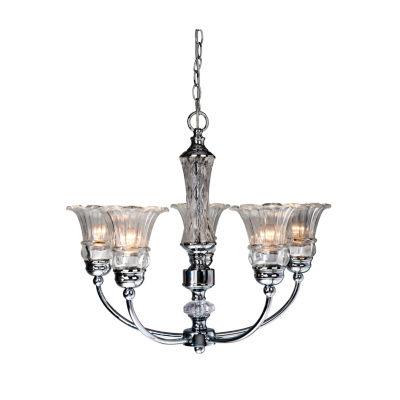 Elegant Designs 5 Light Glass Ceiling Glacier Petal Chandelier