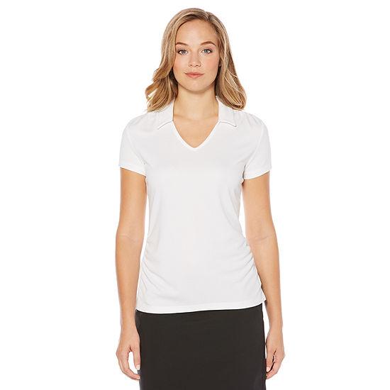 PGA TOUR Womens V Neck Short Sleeve Polo Shirt