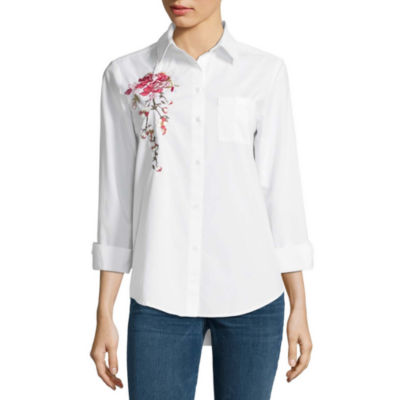 a.n.a Button Front Embroidered Shirt