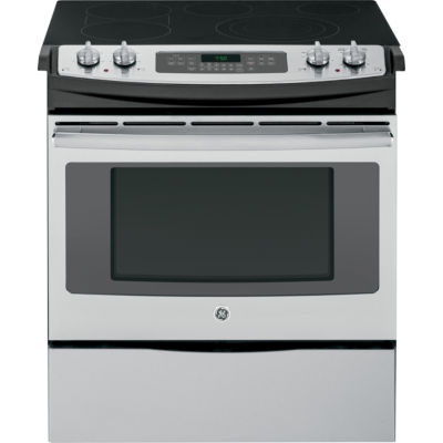 """GE® 30"""" Slide-In Front Control Electric Range with Convection"""
