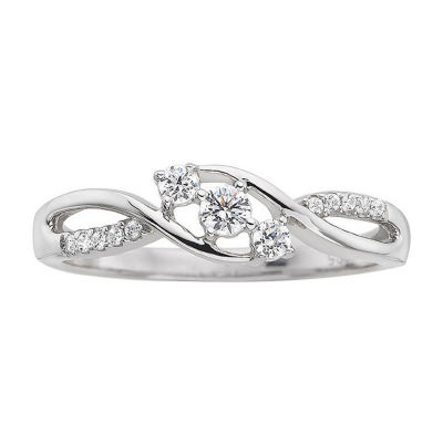 Love Lives Forever 1/3CT. T.W. Diamond 10K White Gold 3-Stone Promise Ring